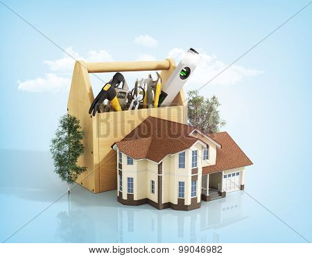 Concept Of Repair House. Repair And Construction Of The House. Tool Box Near A House With Trees On T