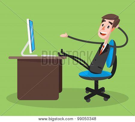 Businessman Smiling Using Computer