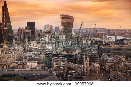 City of London panorama at sunset.