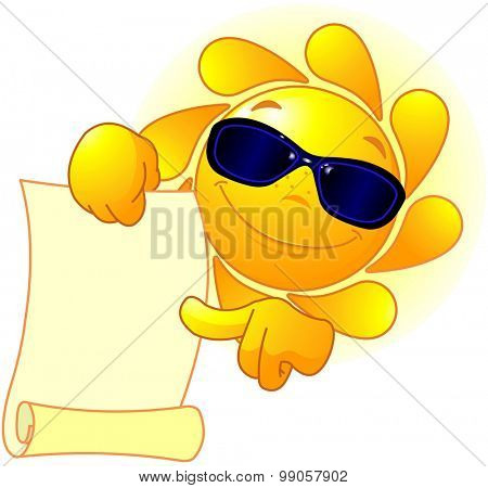 Sun with sunglasses holds scroll