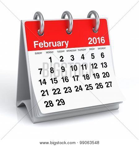 February 2016 - Desktop Spiral Calendar