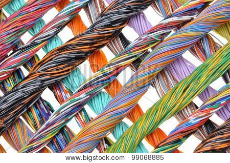 Multicolored telecommunication cables
