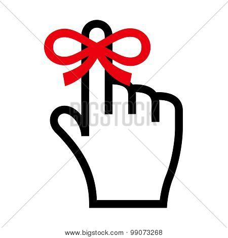 Reminder icon. Hand with finger on which is tied ribbon bow poster