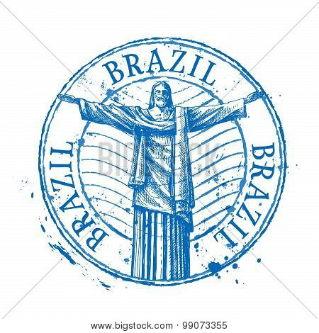Brazil vector logo design template. Shabby stamp or monument, landmark icon
