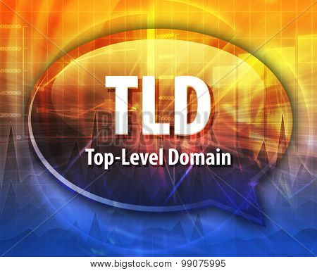 Speech bubble illustration of information technology acronym abbreviation term definition TLD Top Level Domain