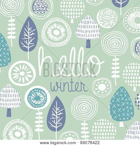 Hello winter leaves flowers and fall garden illustration postcard cover design template typography background pattern in vector