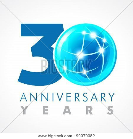30 years old celebrating connecting logo. Anniversary year of 30 th vector template with volume cosmos 0. Greetings ages celebrates. Technologies, communicating sign with lighting flashes and sparks.