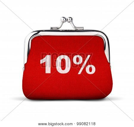 Red Purse, Wallet With Number 10% Isolated On White, Discount Concept