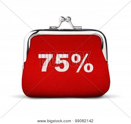 Red Purse, Wallet With Number 75% Isolated On White, Discount Concept