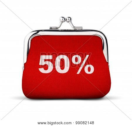 Red Purse, Wallet With Number 50% Isolated On White, Discount Concept