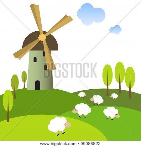 Windmill on peaceful meadow