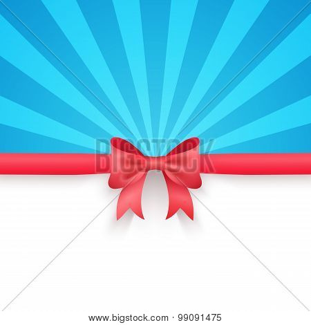 Blue beam background with cute red gift bow and ribbon