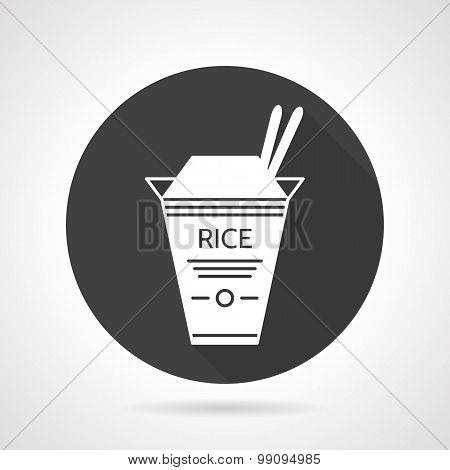 Rice takeaway black vector icon