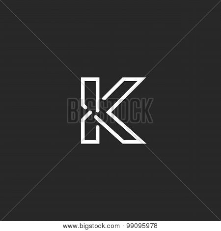K Letter Mockup Logo, Black And White Thin Line Monogram, Invitation Element