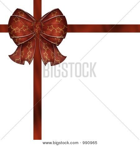 Puffy Red Gift Bow With Stars