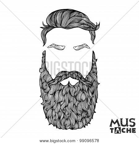 Mustache Beard and Hair Style. Hipster