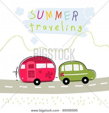 Caravan summer vacation travel. Road trip creative vector illustration.