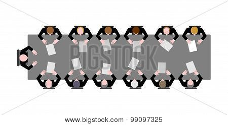 Meeting In Office Of The Top View. Boss Sitting At A Table. Slave Sit At A Long Table With Instrumen