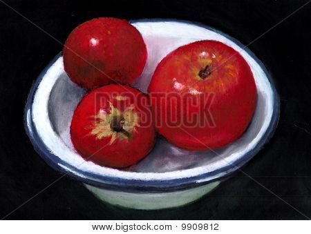Painting of Three Bright Red Apples