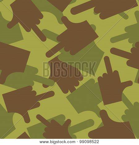 Army Pattern To Fuck. Military Camouflage Texture Vector Hand With Finger- Fuck. Hunter, Soldiers Pr