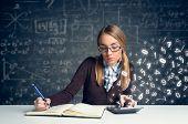 Schoolgirl doing  mathematics with math formulas  poster