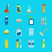Vector hygiene and cleaning products flat icons. Cleaner and toilet paper toothpaste and deodorant poster