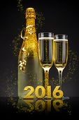 2016 New Years Eve celebration concept with champagne poster
