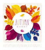 Autumn leaves card for events and sales with round label on grunge background without gradient fills. poster