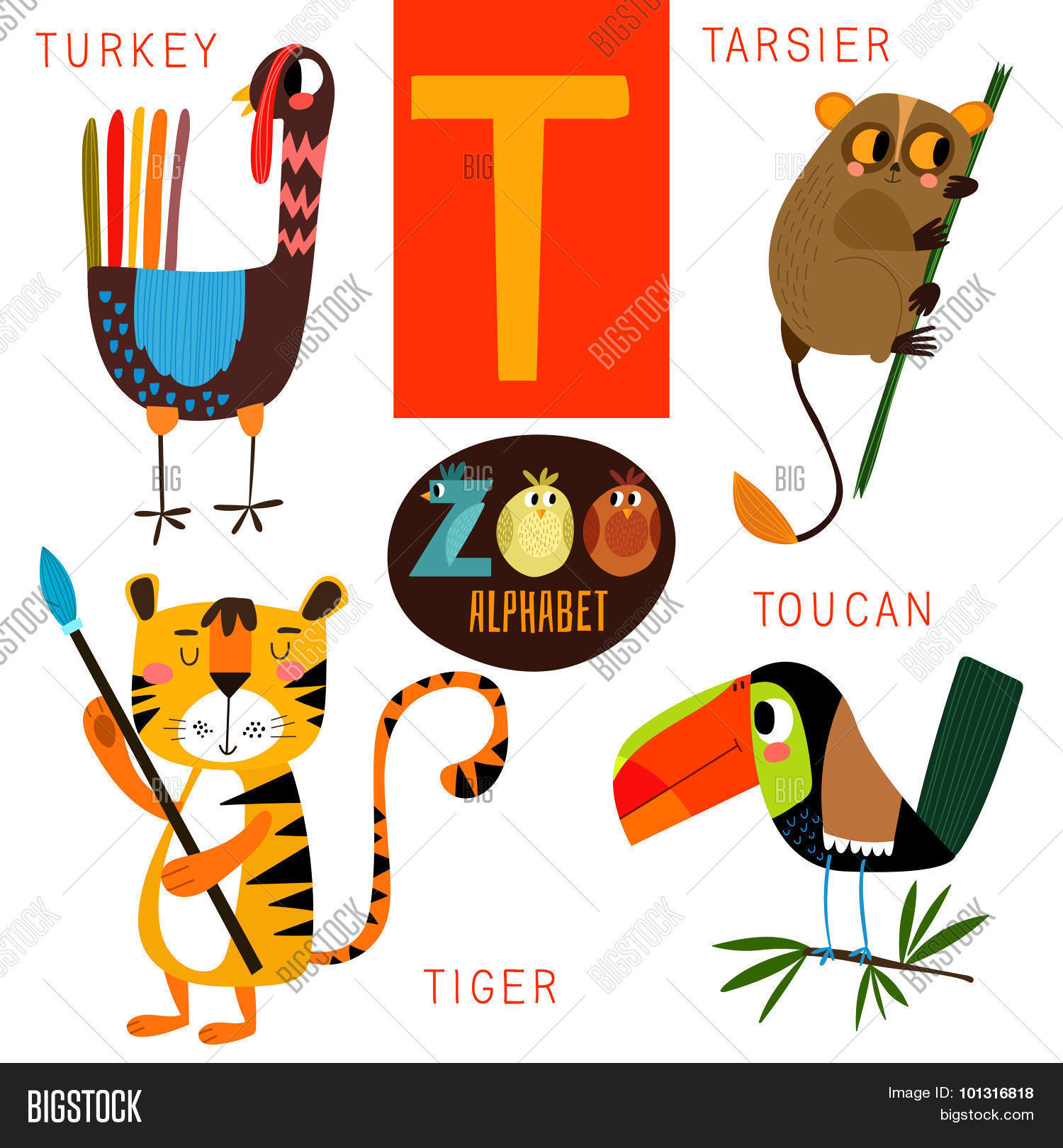 Cute Zoo Alphabet In Vectort Letter Funny Cartoon Animalsturkey Tarsier
