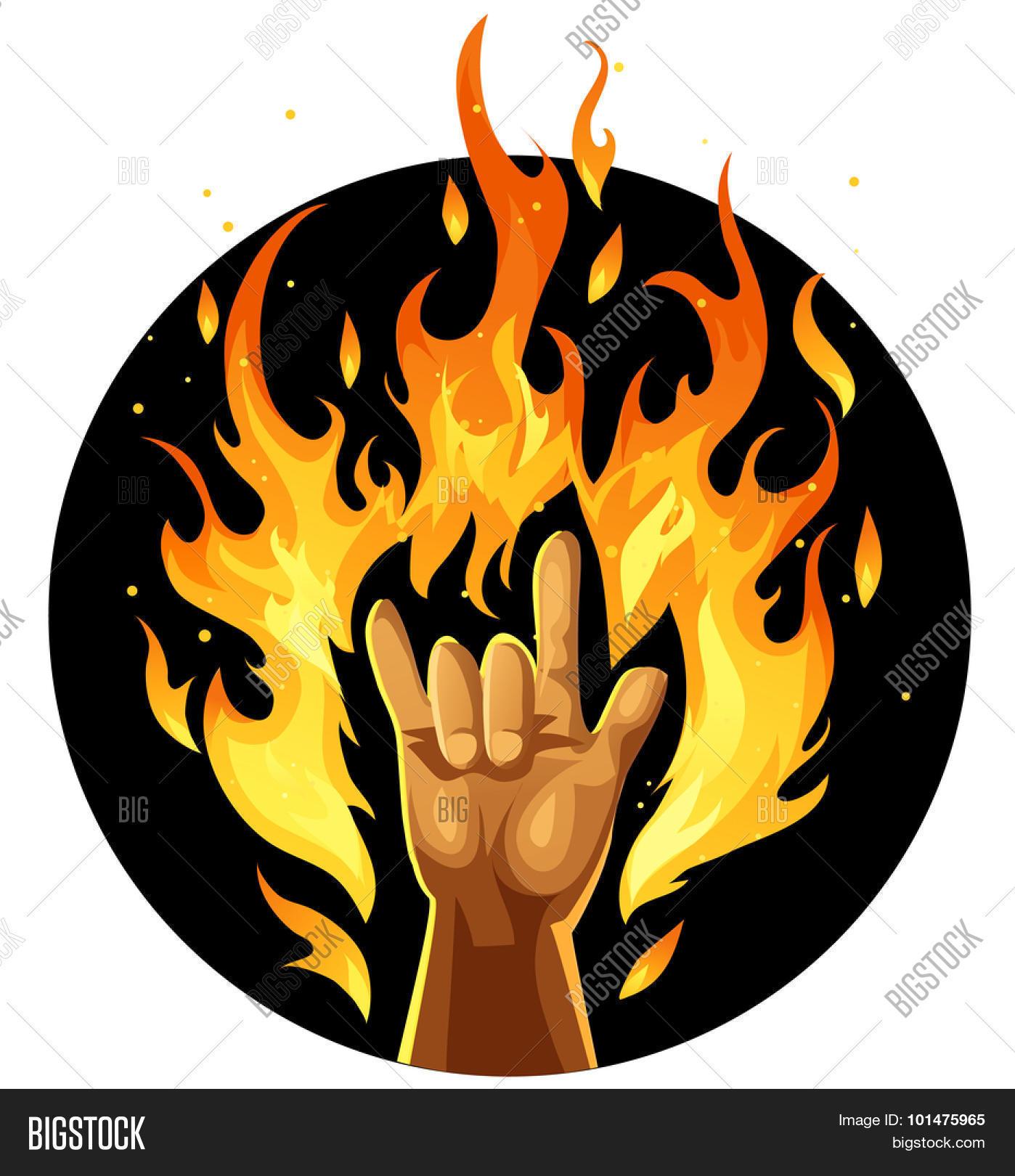 Hand rock roll sign fire vector photo bigstock hand in rock and roll sign in fire buycottarizona