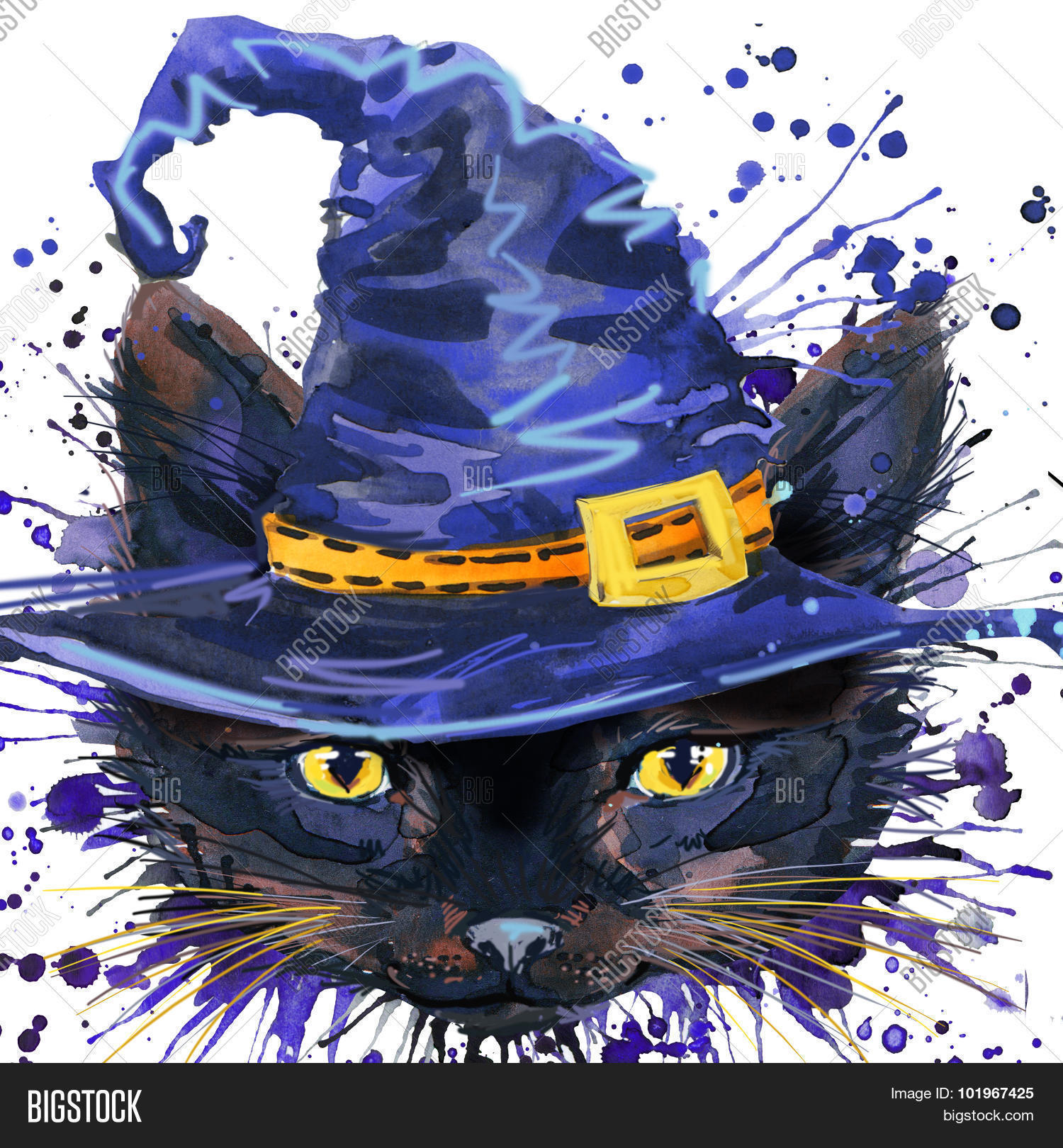Halloween Cat Witch Watercolor Illustration Background For The Holiday Splas