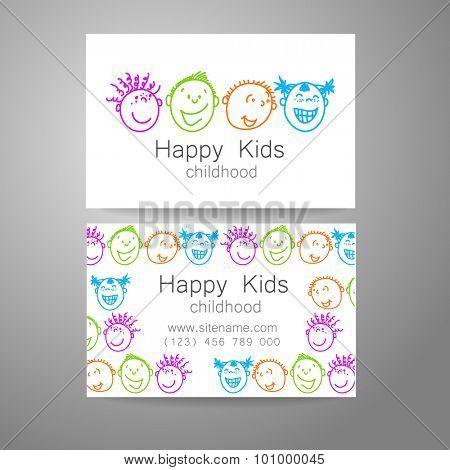 Happy children logo. Template design sign for school, kindergarten, summer camps, children's team and others. Branded business card.