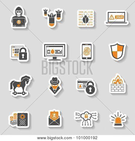 Internet Security Icon Sticker Set