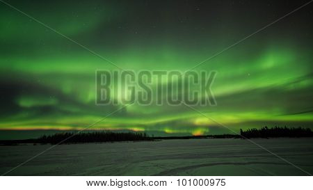 Chena Lake, Aurora, Night Sky At Alaska, Fairbanks