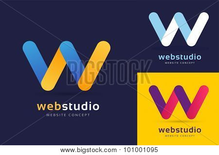 W letter vector. W logo icon template. W symbol silhouette. W isolated icon, W line style letter, W logotype, W logotype, W modern symbol, Wave logo. W name company or brand name. Wave vector icon