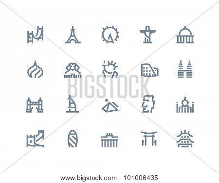 Landmarks icons set. Line style