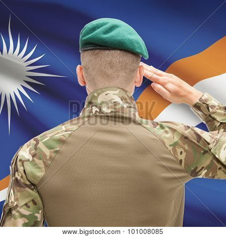 National Military Forces With Flag On Background Conceptual Series - Marshall Islands