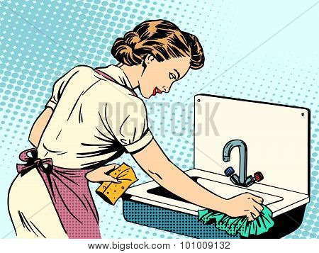 woman cleans kitchen sink cleanliness housewife housework comfort retro style pop art poster