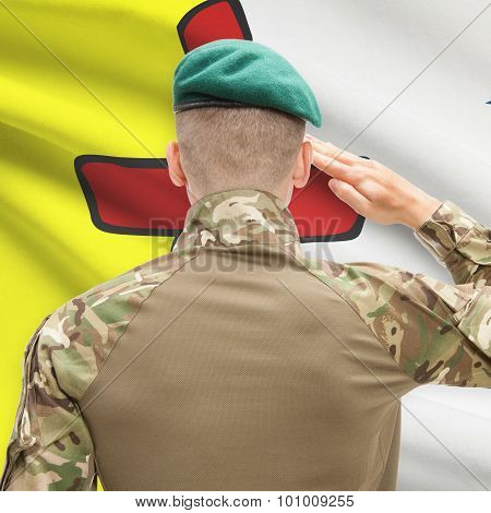 Soldier Saluting To Canadial Province Flag Conceptual Series - Nunavut