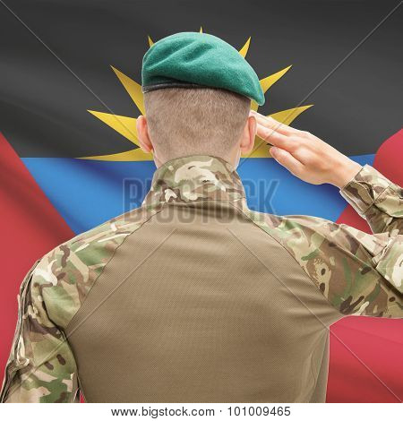 National Military Forces With Flag On Background Conceptual Series - Antigua And Barbuda