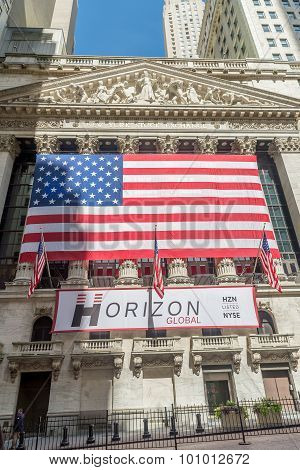 NEW YORK CITY - JULY 10: Facade of New York Stock Exchange on July 10 2015 in NYC. New York Stock Exchange is the largest stock exchange in the world poster