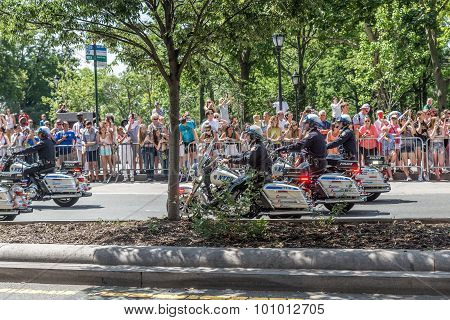 Policemen On Celebration Of Us Women's World Cup Win In New York