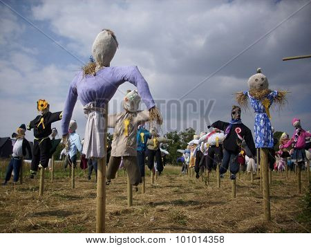 Scarecrows on sticks from a scarecrow festival