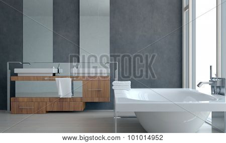 Simple Interior Design of a Modern Architectural Spacious Home Bathroom with Bathtub. 3d Rendering