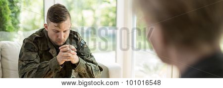 Soldier Visiting A Shrink