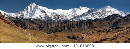 View Of Putha Churen Himal And Dhaulagiri Himal
