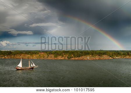 View of the Baltic sea and a rainbow in the background