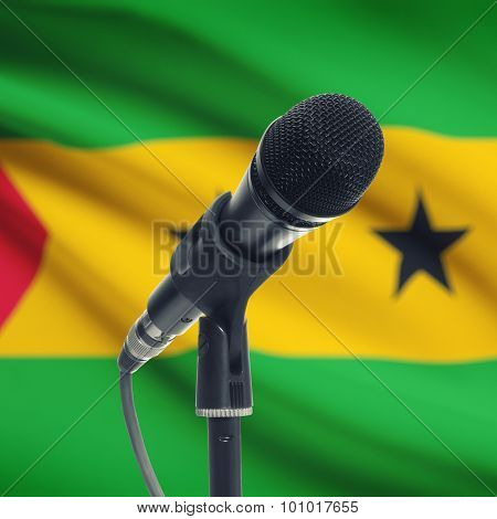 Microphone On Stand With National Flag On Background - Sao Tome And Principe