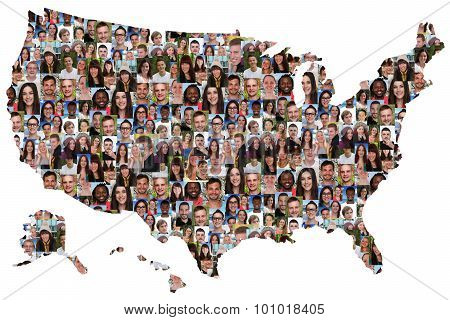 Usa Map Multicultural Group Of Young People Integration Diversity