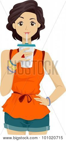 Illustration of a Girl Drinking from a Cup Using a Straw